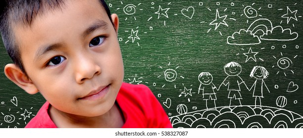 Asia Little boy with  Background board drawing Family  his dream of happiness