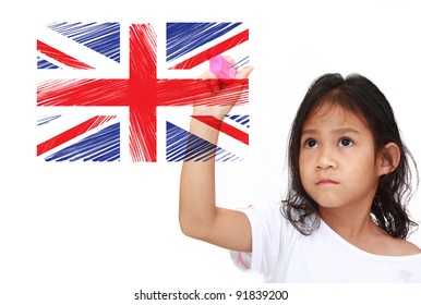 Asia Little girl drawing Flag of england. on whiteboard