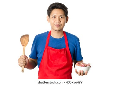 Asia man ready to cooking isolated on white background