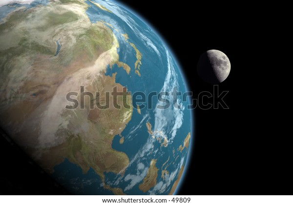 Asia and the Moon, no stars in background