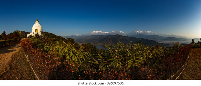 Asia, Nepal - Panorama with Shanti Stupa and annapurna range at sunrise, Pokhara