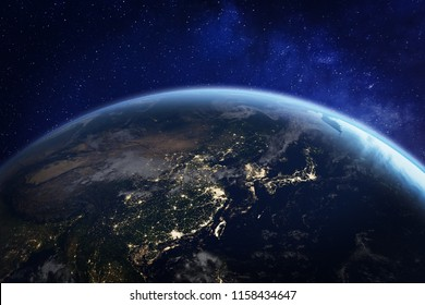 Asia at night from space with city lights showing human activity in China, Japan, South Korea, Taiwan and other countries, 3d rendering of planet Earth, elements from NASA