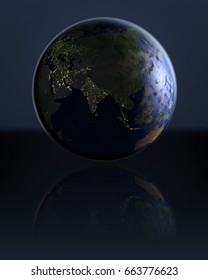 Asia on dark globe with visible city lights on dark reflective surface. 3D illustration. Elements of this image furnished by NASA.