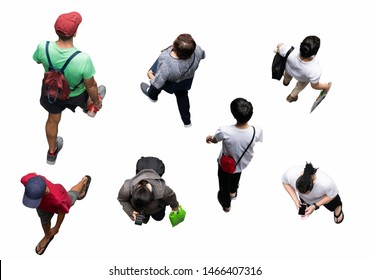 Asia people walking isolated. Top view.