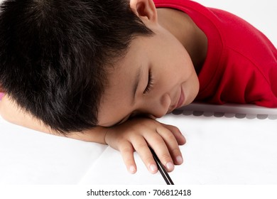 asia portrait little boy write book with pencil