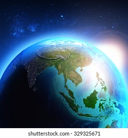 Asia seen from space / Elements of this image furnished by NASA.