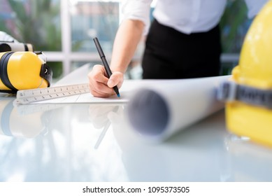 Asia team architect or engineer working in office, Construction concept. Engineering tools,
