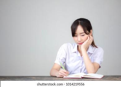 asia thai high school student uniform beautiful girl Write a book