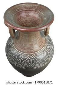 Asia traditional ceramic antique vase (isolated on white background)