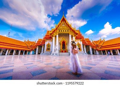 Asia womam tourist visit the beauty of Wat Benchamabophit,Bangkok Thailand