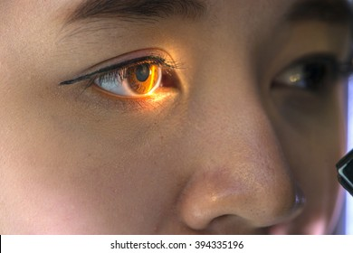 asia woman having eye test. eye test machine. (closeup woman's eye)