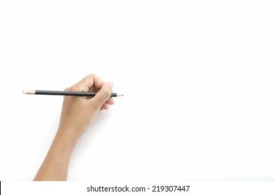 asia woman left hand writing on a white background