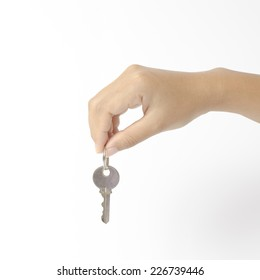 asia woman right hand holding key on a white background