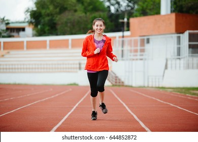Asia woman runner during running exercise