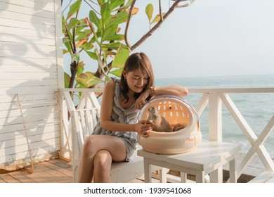 Asia woman sitting enjoying with prairiedog at balcony sea view smiling looking the beach.