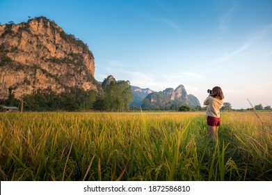 Asia woman traveler and photographer taking a photo with mirrorless camera on the rice field with mountain view in Uthaithani Thailand