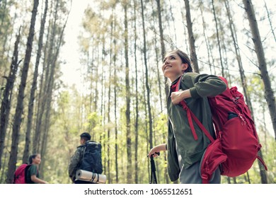 Asia young Camp Forest Adventure Travel Remote Relax Concept.