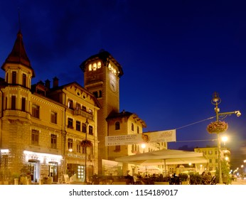 Asiago, Italy - August 2018: City Hall by night