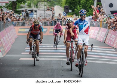Asiago, Italy May 27, 2017:  Thibaut Pinot win a tough mountain stage of the Giro D'Italia 2017 that arrive in Asiago after climb Monte Grappa.