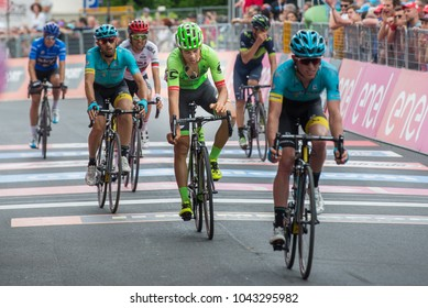Asiago, Italy May 27, 2017: A Group of professional cycling with Davide Formolo passes the finish line after a tough mountain stage of the Giro D'Italia 2017 that arrive in Asiago.