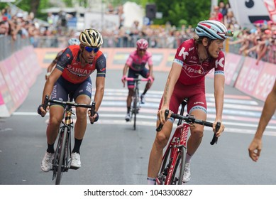 Asiago, Italy May 27, 2017: A Group of professional cycling passes the finish line after a tough mountain stage of the Giro D'Italia 2017 that arrive in Asiago after climb Monte Grappa.