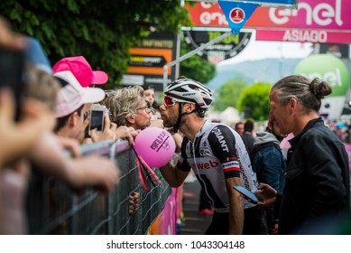 Asiago, Italy May 27, 2017: Professional cycling, Sunweb Team, met his fans after a tough mountain stage of the Giro D'Italia 2017 that arrive in Asiago after climb Monte Grappa.
