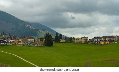 Asiago, Veneto / Italy - July 24th 2019: Asiago town in a rainy day in the Veneto region of Northern Italy