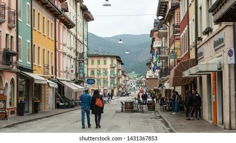 Asiago, Veneto / Italy - June 22nd 2019 : Asiago town in the Veneto region of Northern Italy