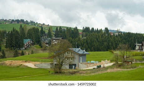 Asiago, Veneto / Italy - June 22nd 2019: Asiago town in a rainy day in the Veneto region of Northern Italy