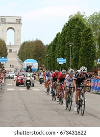 Asiago, VI, Italy - May 27, 2017: Cyclists during the cycling race 100th Giro d'Italia Stage 20. Cyclists: Dumoulin,Yates,Mollema,Jungels,Reichenbach Final Sprint
