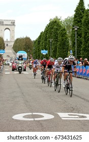 Asiago, VI, Italy - May 27, 2017: Cyclists during the cycling race 100th Giro d'Italia Stage 20. Cyclists:Dumoulin,Yates,Mollema,Jungels,Reichenbach Final Sprint