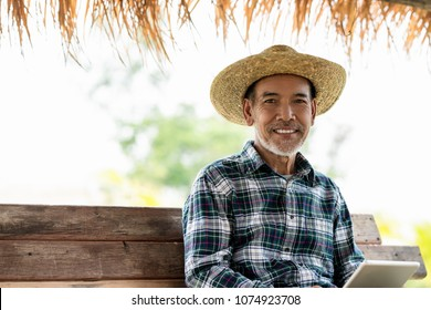 Asian adult modern agriculture technology concept of smart farmer using digital tablet at home farm or crop field monitor report smile and sitting on wood rustic bench wear hat/shirt with copy space.