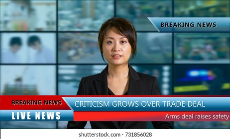 Asian American female anchor in studio with lower thirds and background screens, live TV news concept