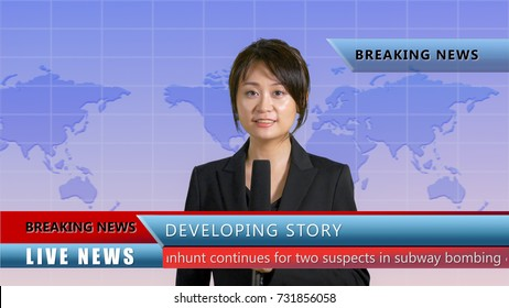 Asian American female anchor in studio with lower thirds, live TV news concept