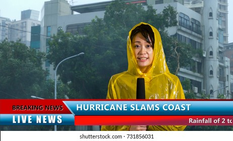 Asian American weather reporter live report in storm