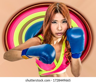 Asian American woman boxer in pink top wearing boxing gloves  with circular color stretch in background
