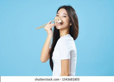 Asian appearance chopsticks snack seafood