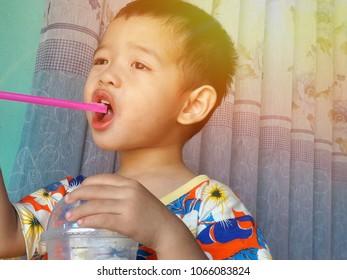 Asian babies Eating sweet