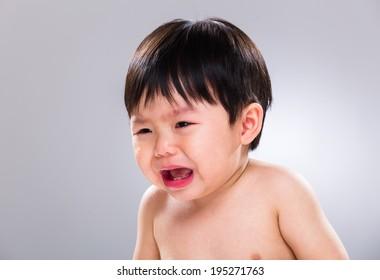 Asian baby boy crying