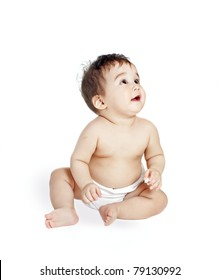 asian baby boy  on a white background