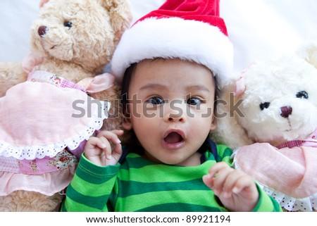d22c76fd729 Asian Baby Christmas Hat Teddy Bear Stock Photo (Edit Now) 89921194 ...