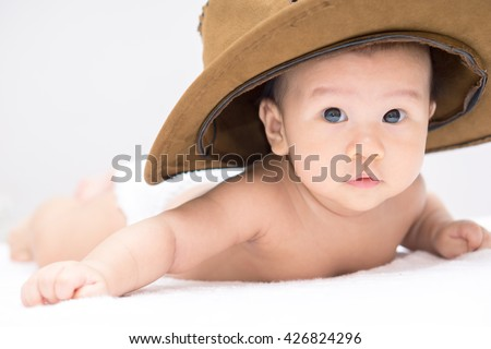 Asian Baby Cowboy Hat Lying On Stock Photo (Edit Now) 426824296 ... 10ceb105ea8