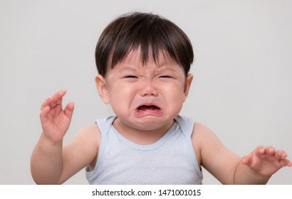 Asian Baby cry and feel sad