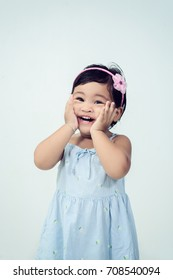 Asian baby girl be smile funny and happiness