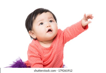 Asian baby girl finger pointing