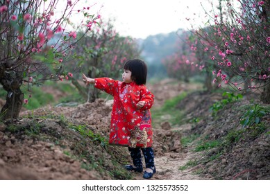 An Asian baby girl play in peach flower garden