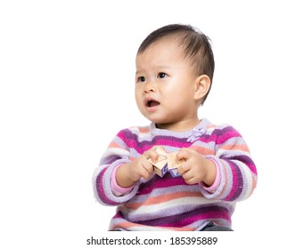 Asian baby girl play toy block