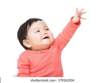 Asian baby girl touch top