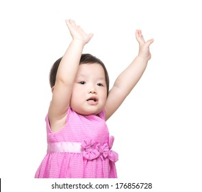 Asian baby girl two hand up