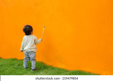 Asian baby kid painting artist